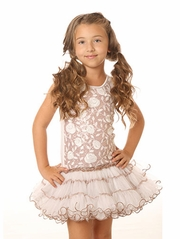 Ooh! La La! Couture White & Rose Gold Wiretrim Poufier Dress