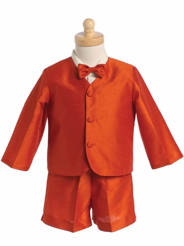 Orange Boys Poly Silk Eton Jacket & Shorts