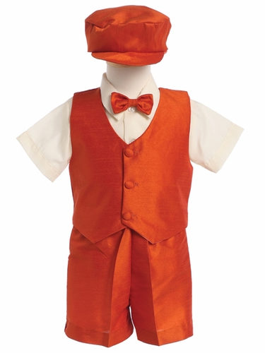 Orange Boys Poly Silk Vest & Shorts w/Hat