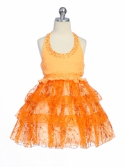 Orange Pageant Girl Dress - Organza Halter Top Dress