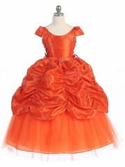 CLEARANCE - Orange Taffeta Embroidered Cinderella Dress