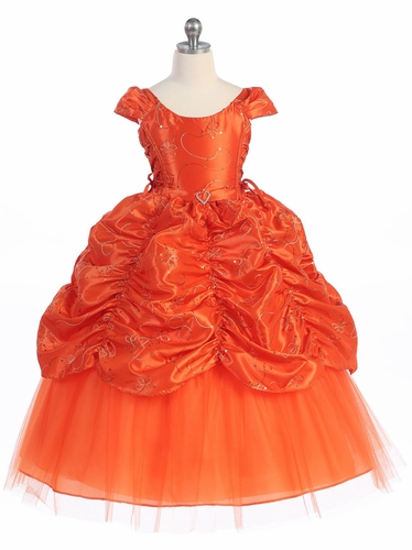 Orange Taffeta Embroidered Cinderella Dress