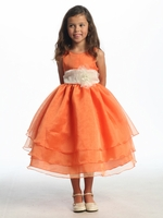 Orange Three Layer Organza Dress