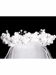 Organza Flowers & Rhinestones w/ 24� White Communion Veil