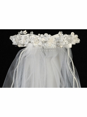 "Organza Flowers & Rhinestones w/ 24"" White Communion Veil"
