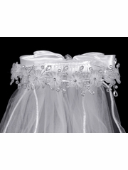 Organza Flowers w/Crystal & Pearl Accents Communion Veil