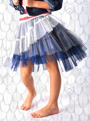 Paper Wings Blue & Gray Tulle Skirt