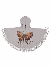 FLASH SALE:  Paper Wings Butterfly Fringed Poncho