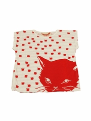 Paper Wings Cat & Stripes Cream / Red Drawstring Tee