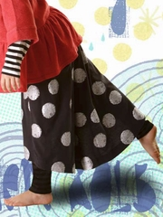 Paper Wings Charcoal / Silver Metallic A-line Jersey Skirt