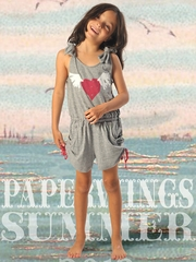 Paper Wings Flying Heart Gray Romper w/ Ties