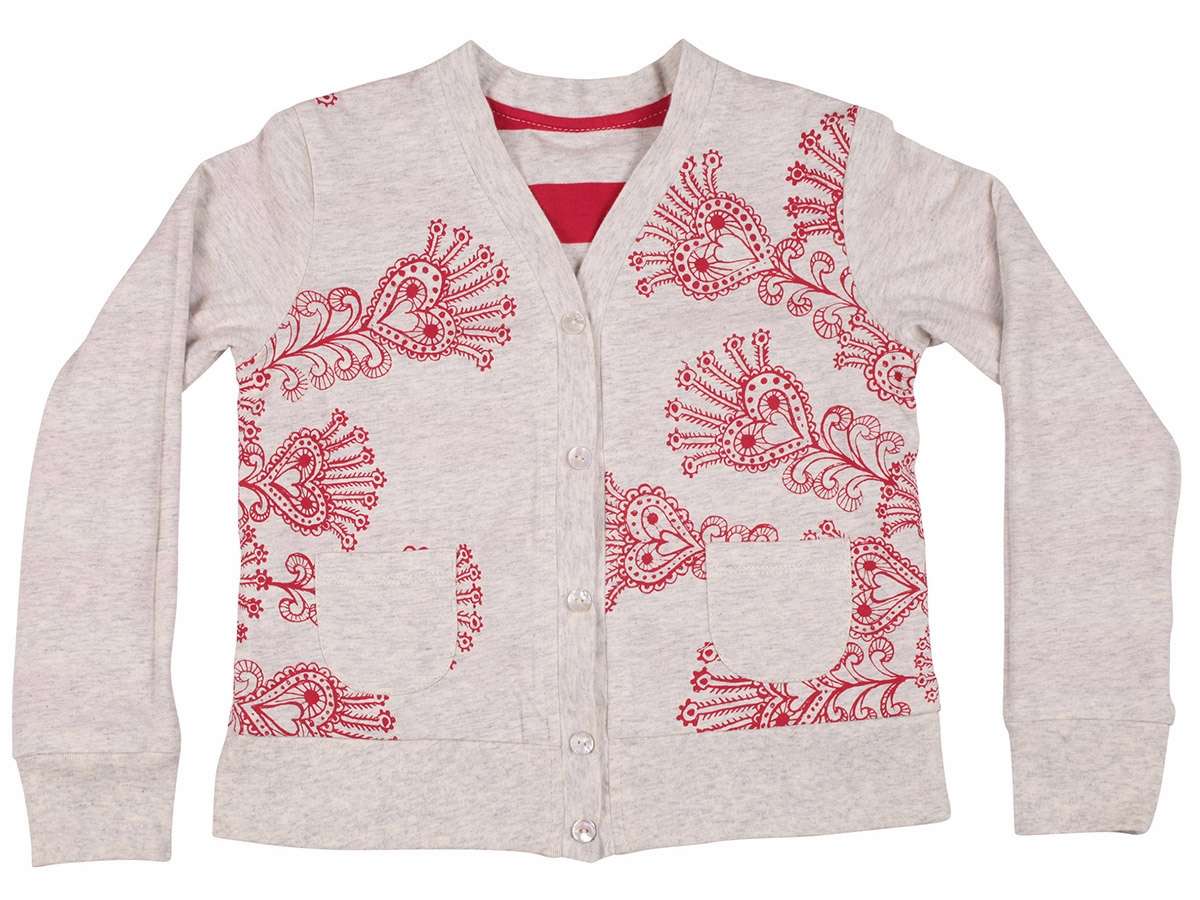 Wings Red Sequin Heart Stripes Reversible Peacock Simple Cardigan