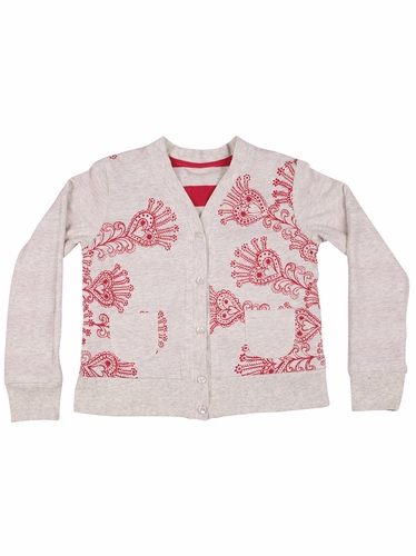 Paper Wings Red Sequin Heart Stripes Reversible Peacock Simple Cardigan