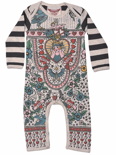 Paper Wings Vintage Tattoos Long Sleeve Romper