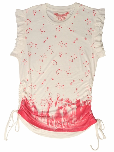 Paper Wings Wild Horses Cream / Berry Frilled Top w/ Drawstrings
