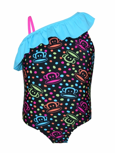 Paul Frank Asymmetrical Ruffle 1PC Swimsuit