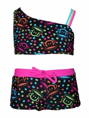 Paul Frank Asymmetrical Tricolor Strap 2PC Swimsuit