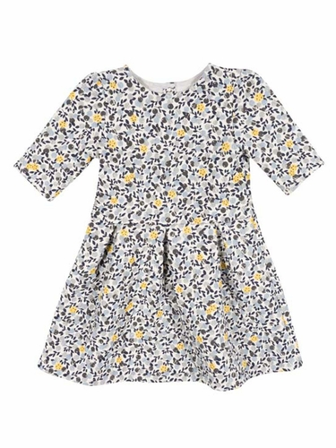Petit Bateau Girls 3/4 Sleeve Printed Dress
