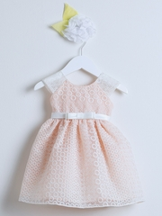 Peach Circle Embroidered Organza Dress