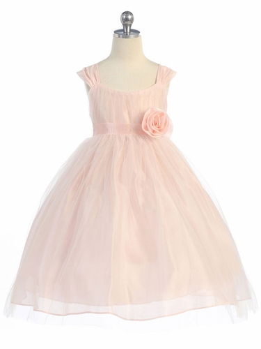 Peach Empire Waist Tulle Dress w/ Poly Silk Sleeve & Sash
