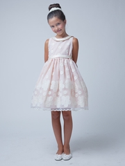 Peach Flower & Dot Embroidered Organza Dress w/ Collar