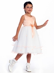 Peach Flower Girl Dress - Matte Satin Bodice with Butterflies