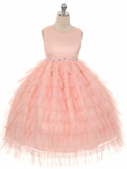 Peach Mesh Layered Princess Dress