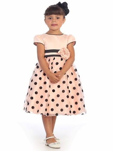 Peach Polka Dot Dress w/ Flower