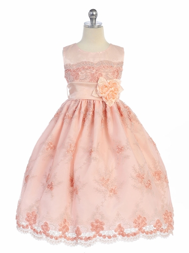 Peach Rosette Lace Overlay Dress