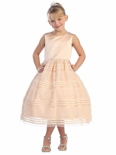 Peach Satin Bodice Embellished Mesh Dress