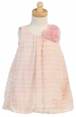 Peach Tie Dye Ruffled Tulle Baby Doll Dress