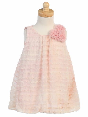 Peach Tie Die Ruffled Tulle Baby Doll Dress
