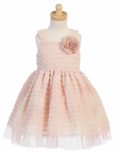 Peach Tie Die Ruffled Tulle Dress