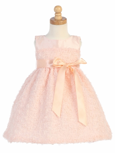 Peach Tulle w/ Chiffon Flowers Dress