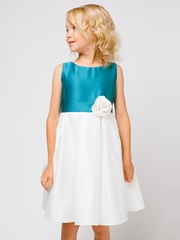 Peacock / Ivory Color Block Satin Dress