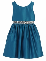 Peacock Satin w/ Sequin Waist Trim Dress
