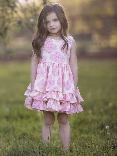Persnickety Daffodils & Dandelions Pink Adeline Dress