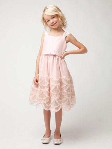 Petal Pink Dress w/ Rosette & Cord Embroidered Scallop Skirt