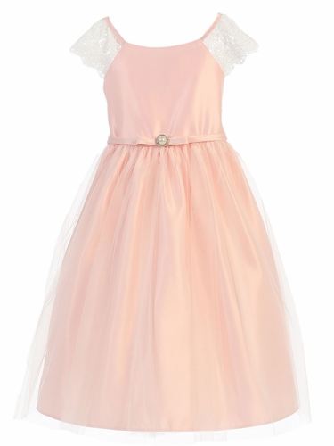 Petal Pink Lace Sleeve Satin Dress w/ Pearl Brooch