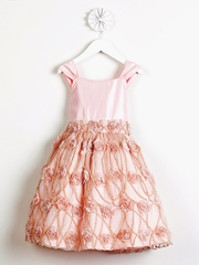 CLEARANCE - Petal Pink Satin w/ Rose Vine Mesh Vintage Dress