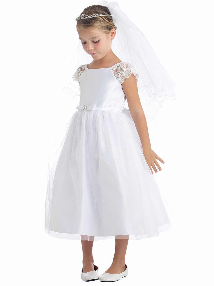 White flower girl dresses pinkprincess petal white lace sleeve satin dress w pearl brooch mightylinksfo
