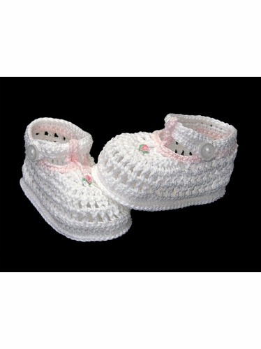 Petit Ami White Crochet Booties w/ Detailing & Strap