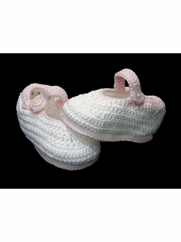 Petit Ami White Crochet Mary Janes