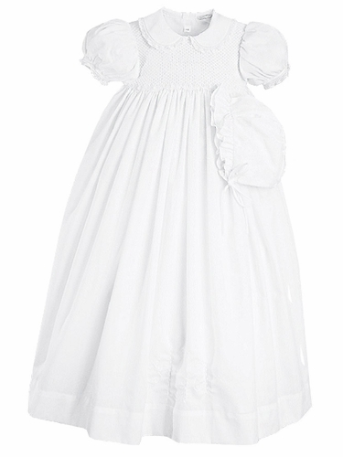 Petit Ami White Full Smoked Gown w/ Slip & Bonnet