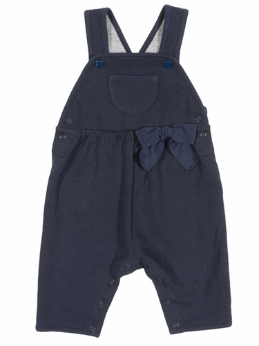 Petit Bateau Baby Navy Overall w/ Bow
