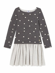 CLEARANCE - Petit Bateau Girls Gray Long Sleeve Dress w/ Dot Print Top