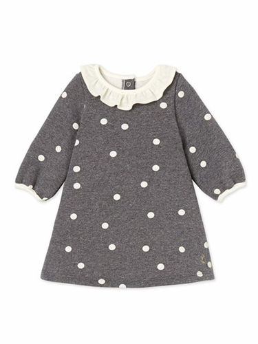 Petit Bateau Gray Long Sleeve Dot Print Dress