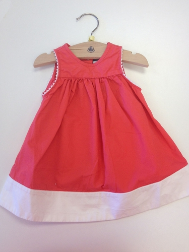 Petit Bateau Hot Pink & White Sleeveless Twill Dress
