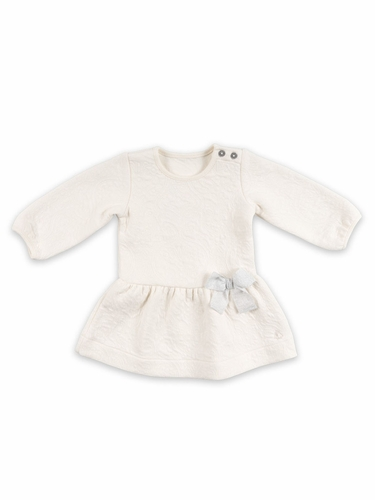 Petit Bateau Ivory Long Sleeve Infant Dress w/ Bow
