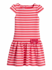 Petit Bateau Pink & White Short Sleeve Striped Dress w/ Bow